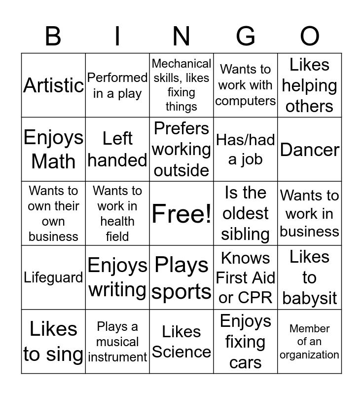 WCC Career Services Bingo Card