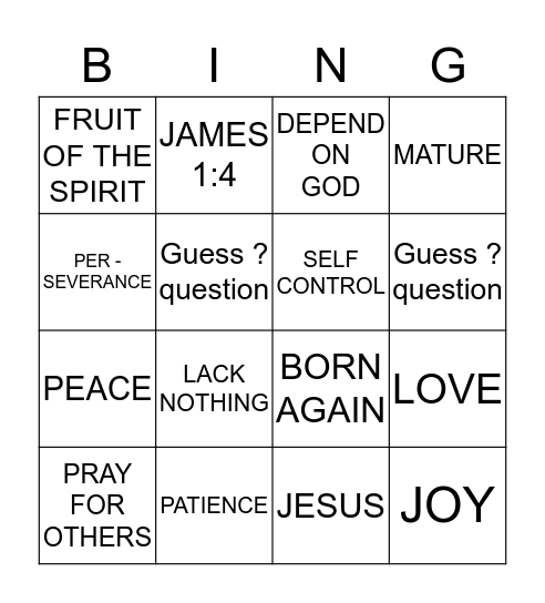 THE PRAYER OF FAITH Bingo Card