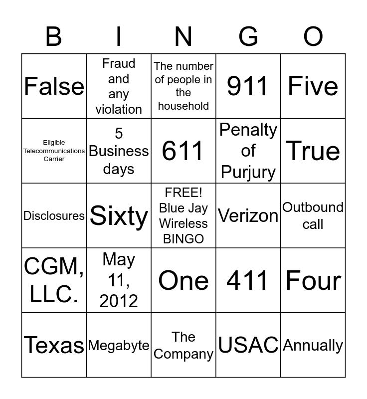 Compliance  Bingo Card
