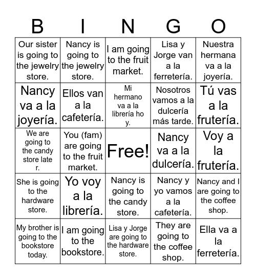 Ir- Present Tense Bingo Card
