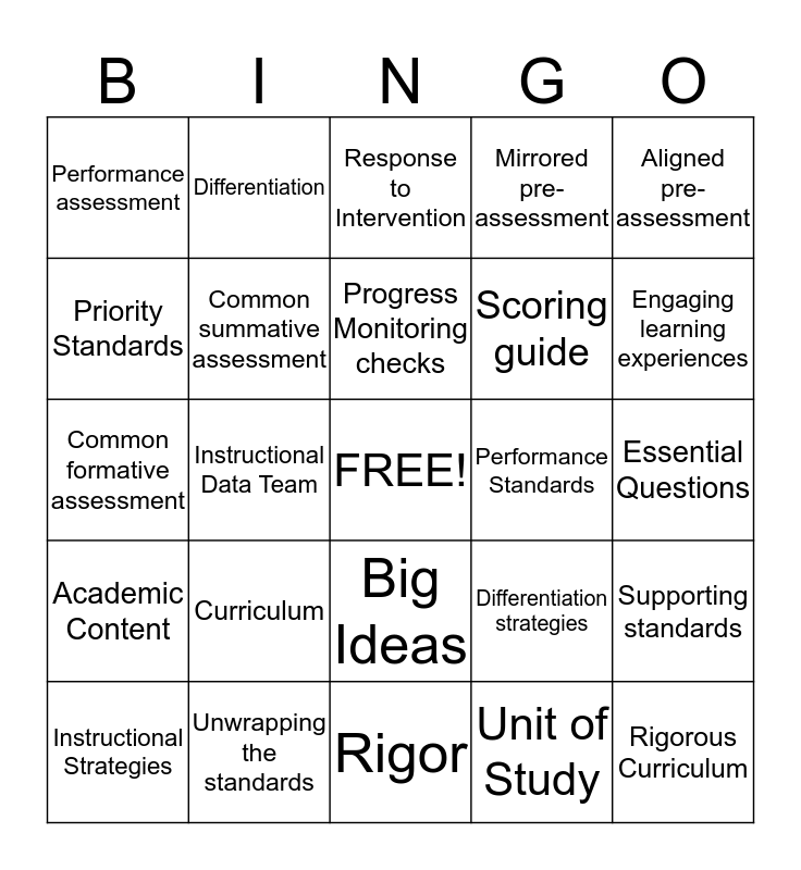 RCD Bingo Card