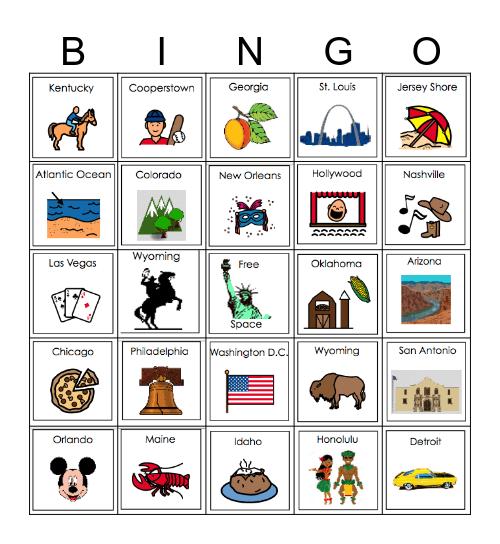 America the Beautiful Bingo Card