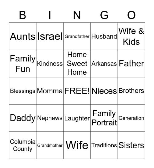 Ferguson Family Reunion 2013 Bingo Card