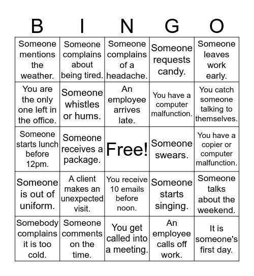 Symphony Bingo Card