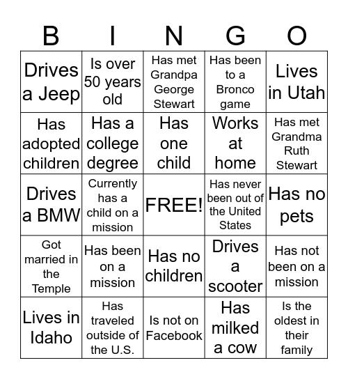 Stewart Reunion Bingo Card