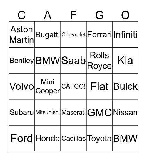 CAF Vehicle Bingo Card