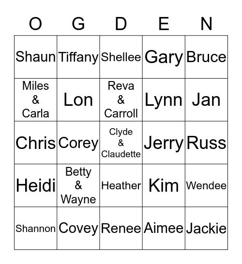 Owen & Marguerite Family Bingo Card