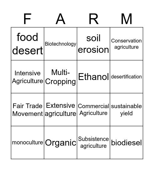 Contemporary Agriculture Bingo Card