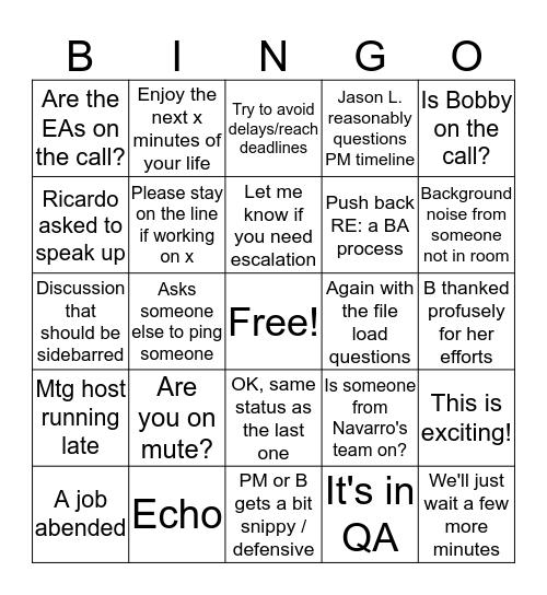 BiWeekly Joy Joy Bingo Card