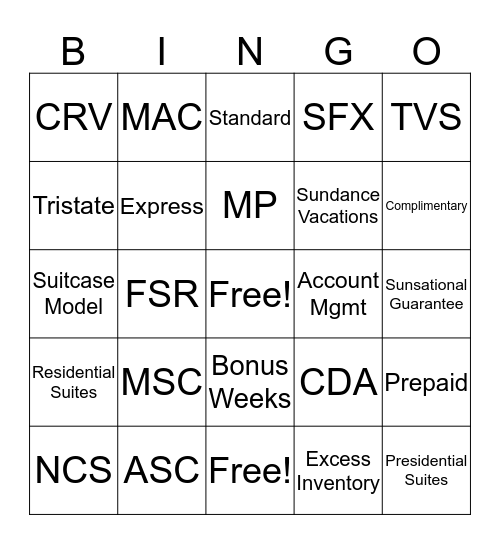 Day Three TVS Bingo Card