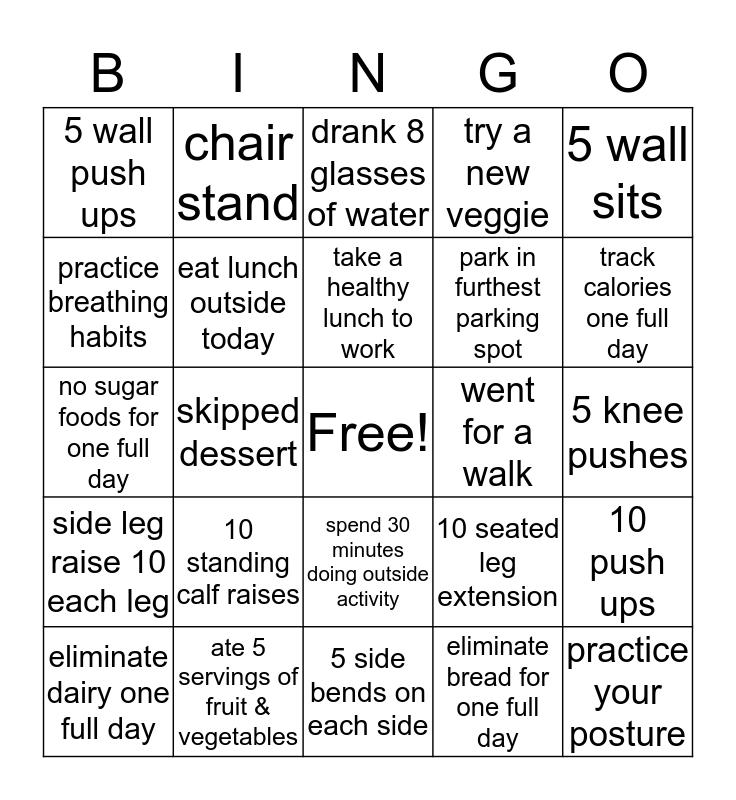 HEALTHY BINGO Card