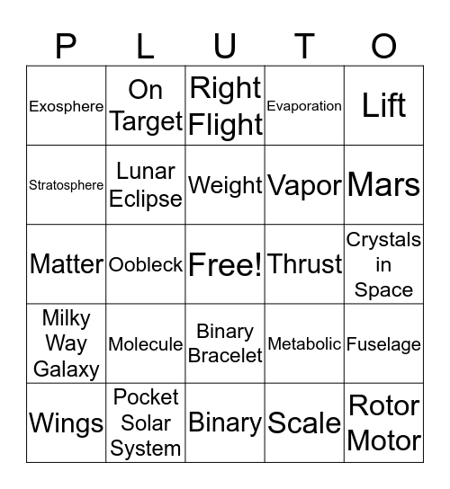 Astro Camp Bingo Card
