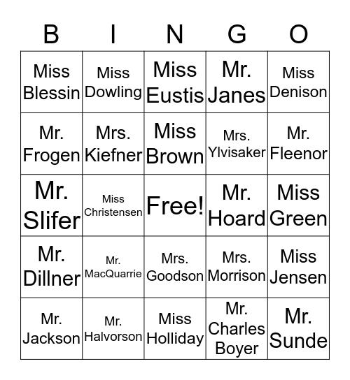 Washburn Faculty Bingo Card