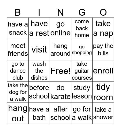 After School Bingo Card