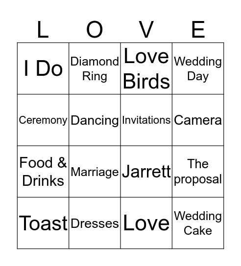 Jarrett and Adelsia are Getting Married Bingo Card