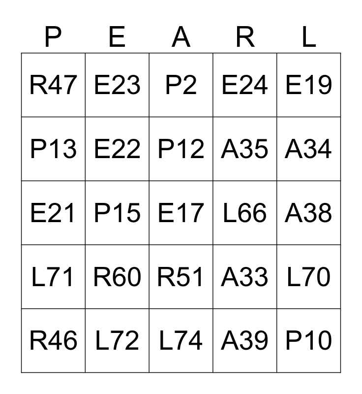 Bless Your Pearls: Card 10 Bingo Card