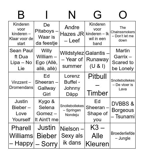 CJV Kamp A 2017 Bingo Card