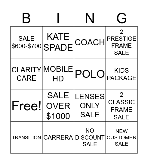 VOGUE BINGO Card