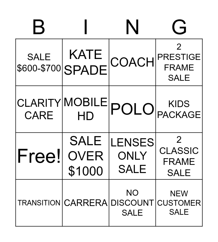 VOGUE BINGO Card