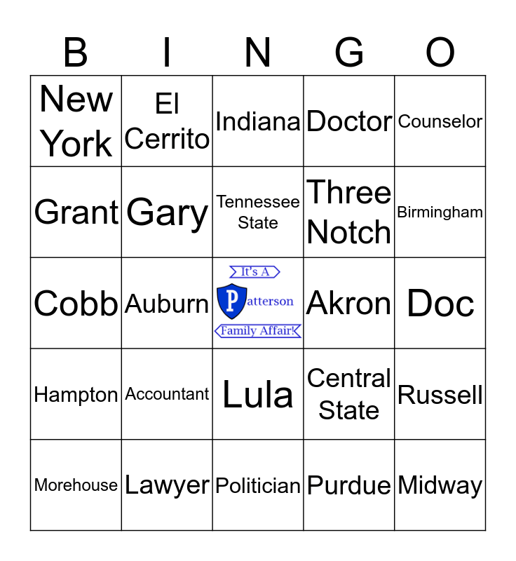 Patterson Family Bingo Card