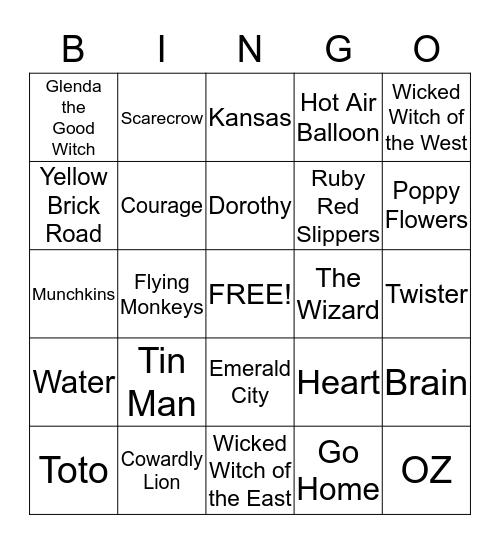 Wizard of Oz  Bingo Card