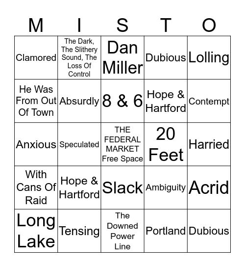 THE MIST Bingo Card