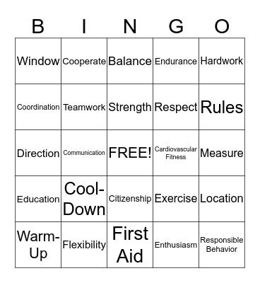 Physical Education Bingo Card