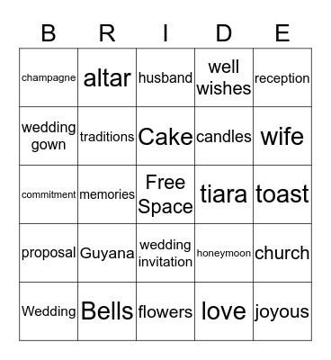 Lisa's Bridal Shower Bingo Card
