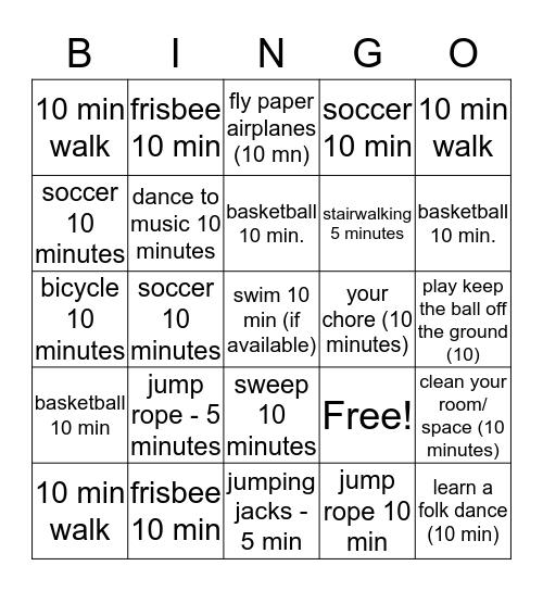 1 hour exercsie Bingo Card