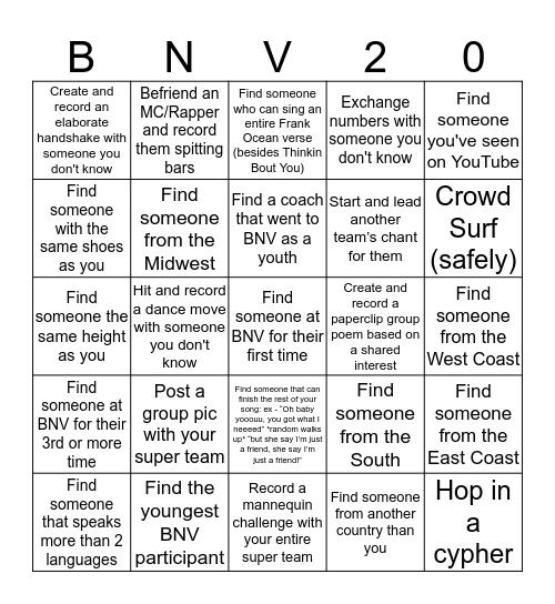 BLACKOUT #BNV17 BINGO Card