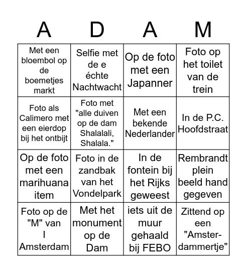Amsterdam Excursie Bingo 2017 Bingo Card