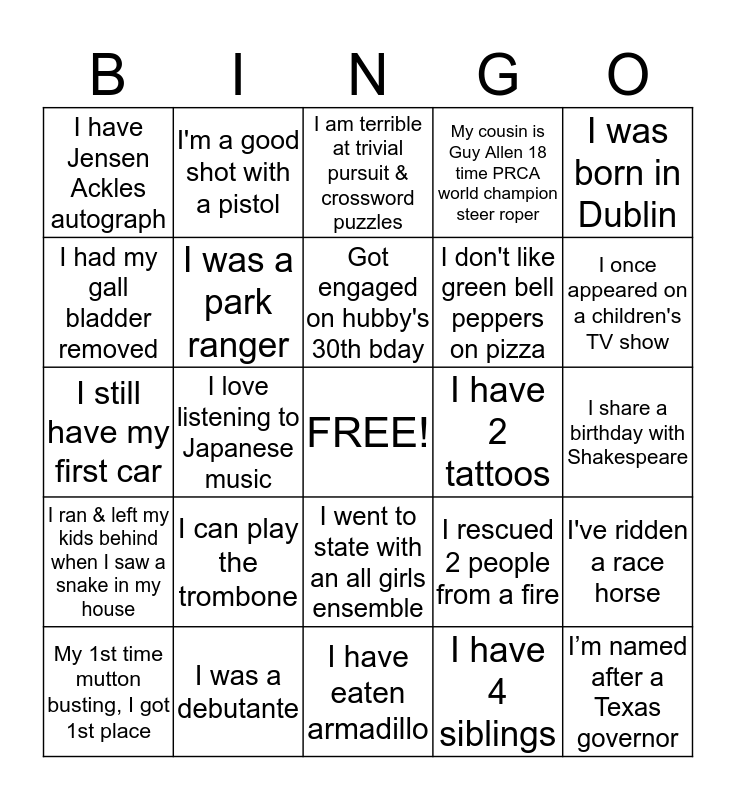 User Services BINGO Card