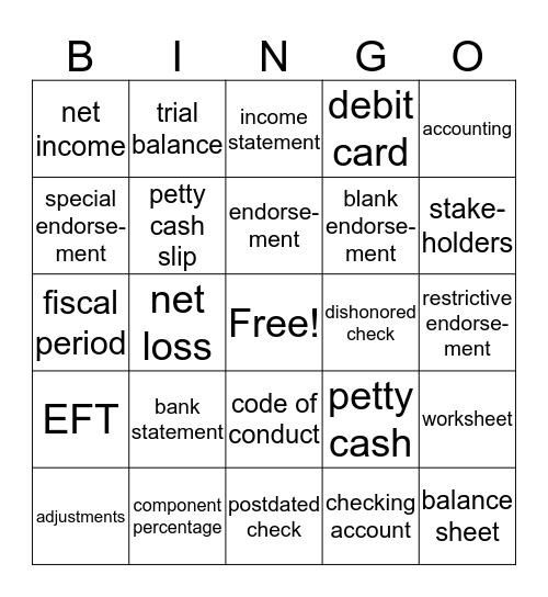 Accounting Ch 5/6/7 Bingo Card