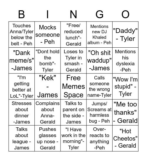 Meme Bingo  Bingo Card