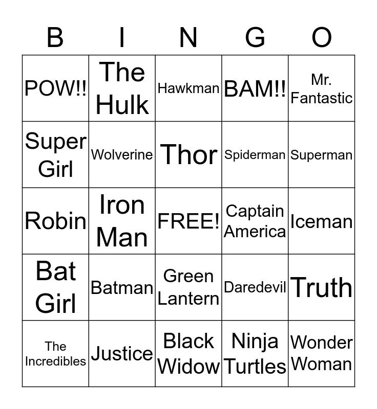 Super Heroes Bingo Card