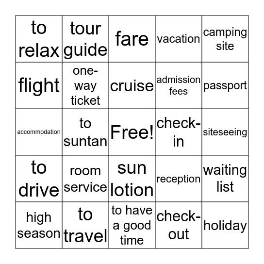 Tourism Vocabulary Bingo Card