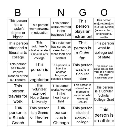 IO Volunteer and Scholar Bingo Card