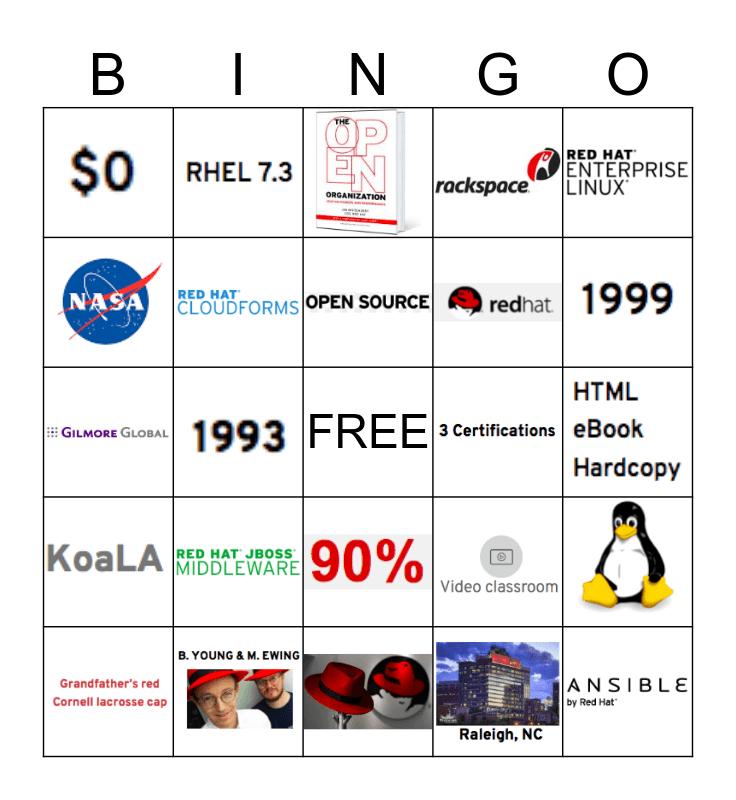 Red Hat Academy Bingo Card