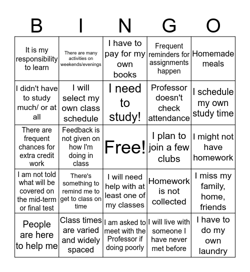 High School vs. College Bingo Card