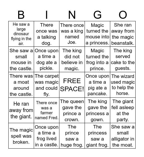 Sentence Bingo Card