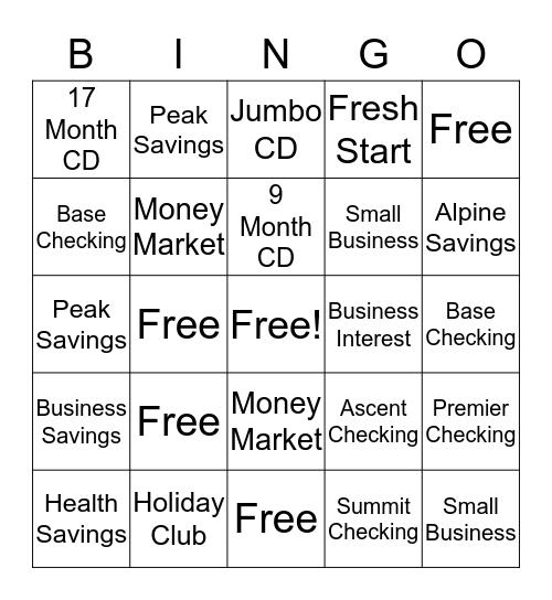 New Deposit Bingo Card