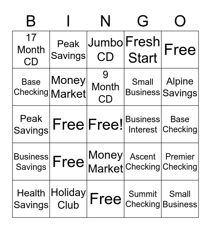 New Deposit Bingo Card