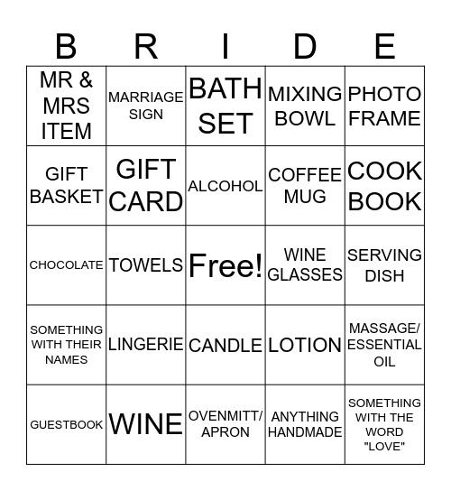 Bridal Shower Presents Bingo! Bingo Card
