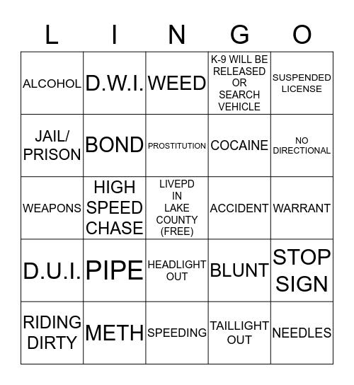 LIVEPD Bingo Card