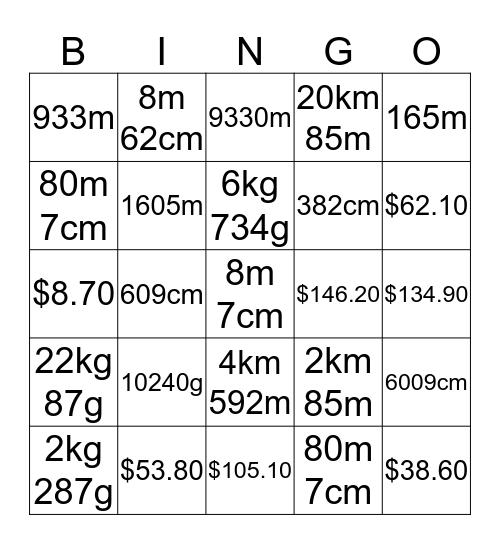 MATHEMATICS FUN - MONEY, LENGTH AND MASS Bingo Card
