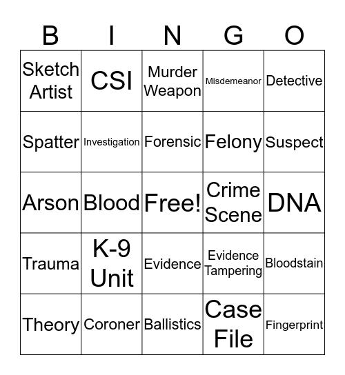 Forensics  Bingo Card