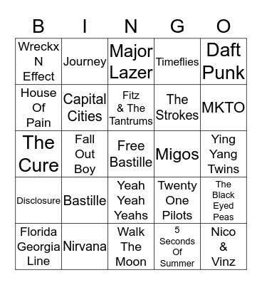 Name That Group 12 Bingo Card