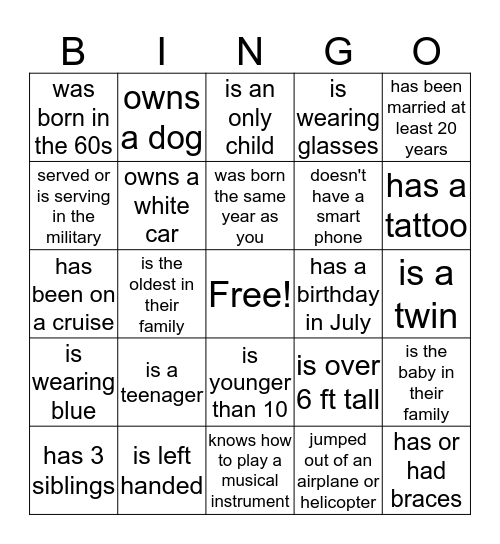 Banks Family Reunion (Find Someone who...) Bingo Card