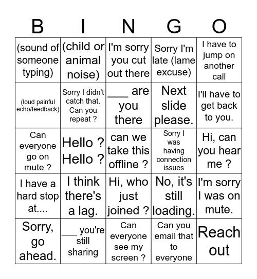 arm meeting Bingo Card