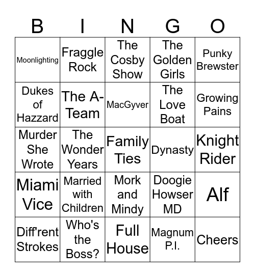 TV Shows of the 80's Bingo Card